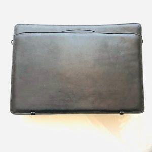 *New black leather briefcase w/strap